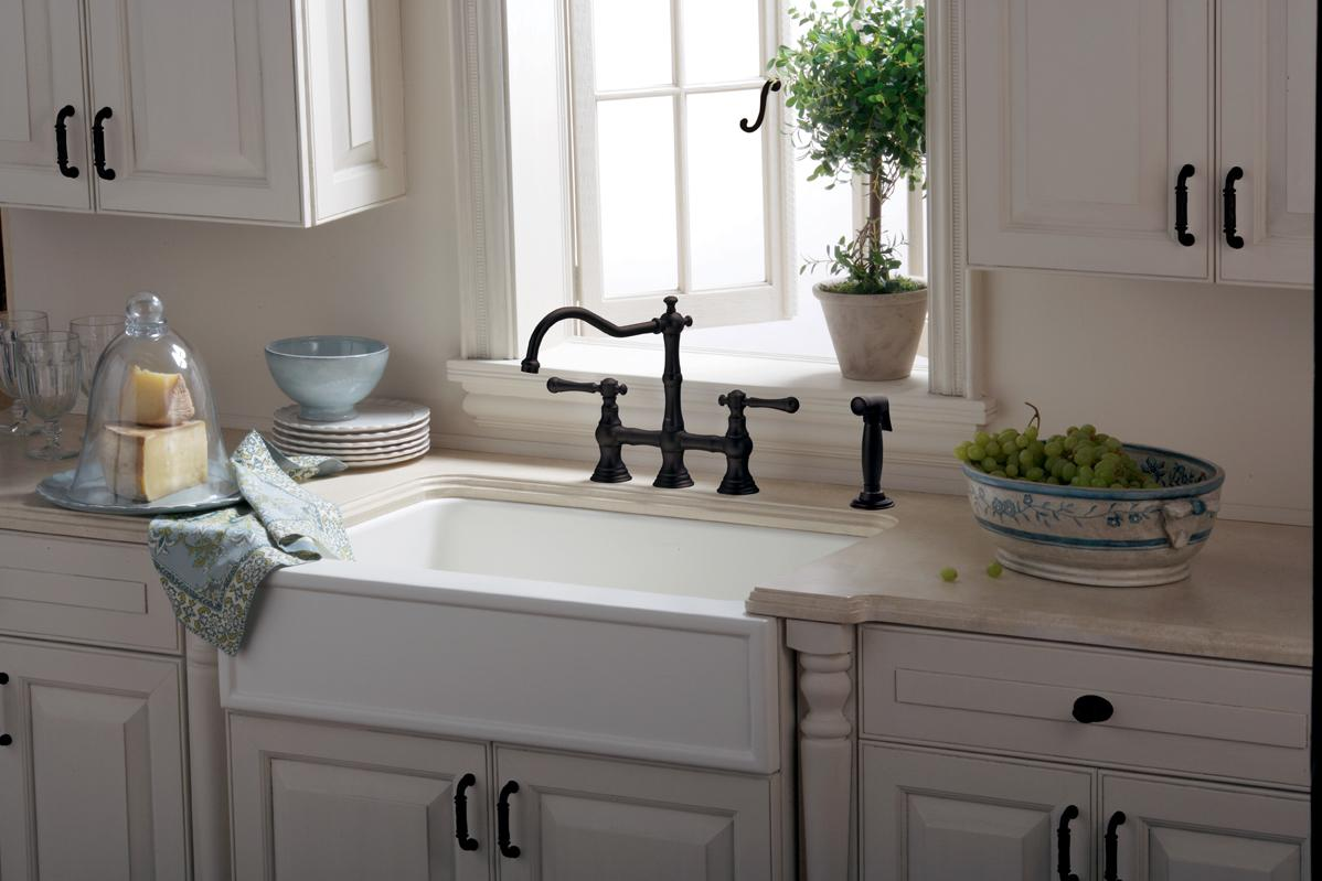 Bridgeford In Handle Kitchen Faucet With Side Spray Touch On - Bridge faucets for kitchen