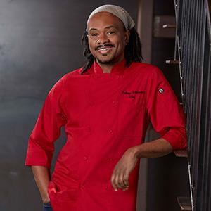 chef works, chefworks, chef work, chef works, 3/4 sleeve, chef coat, black, white, red, merlot, blue