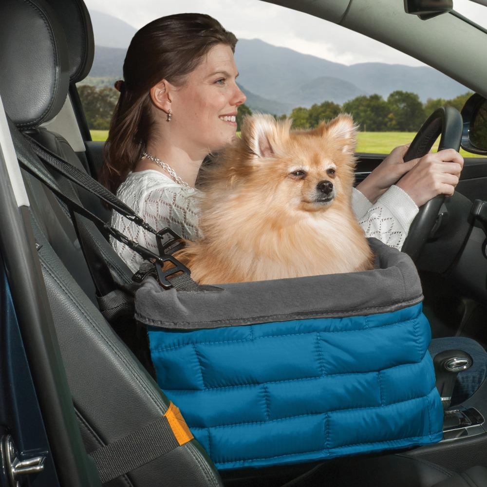 kurgo loft tm dog booster seat for cars with seat belt tether blue orange. Black Bedroom Furniture Sets. Home Design Ideas