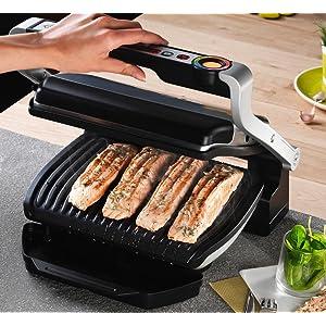 Parrilla electrica t fal gc702 optigrill stainless steel - T fal optigrill indoor electric grill ...