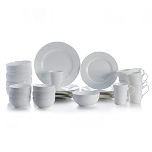 Delray dinnerware set, place settings, large plate set, eight person dish set