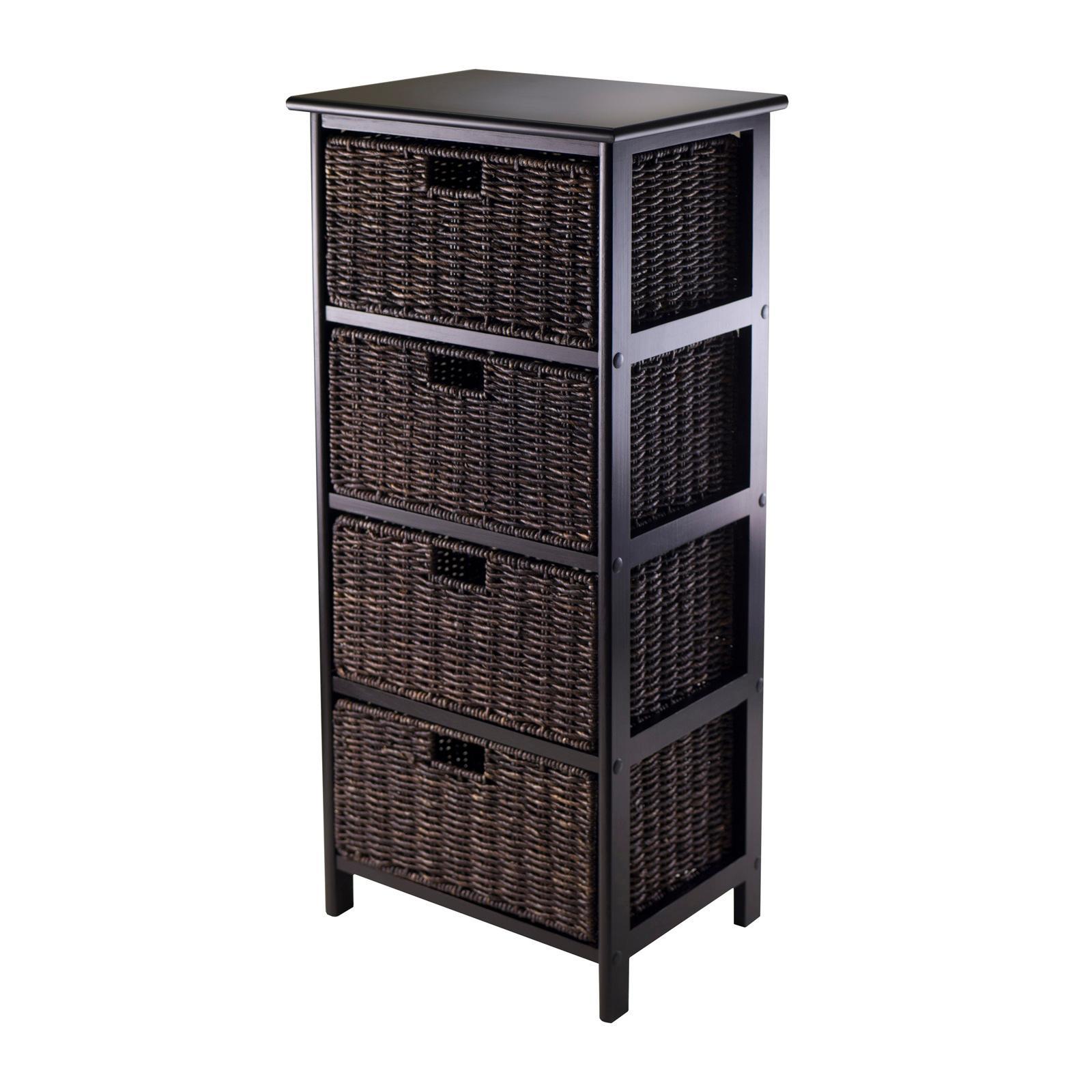 winsome omaha storage rack with 4 foldable basket home kitchen. Black Bedroom Furniture Sets. Home Design Ideas