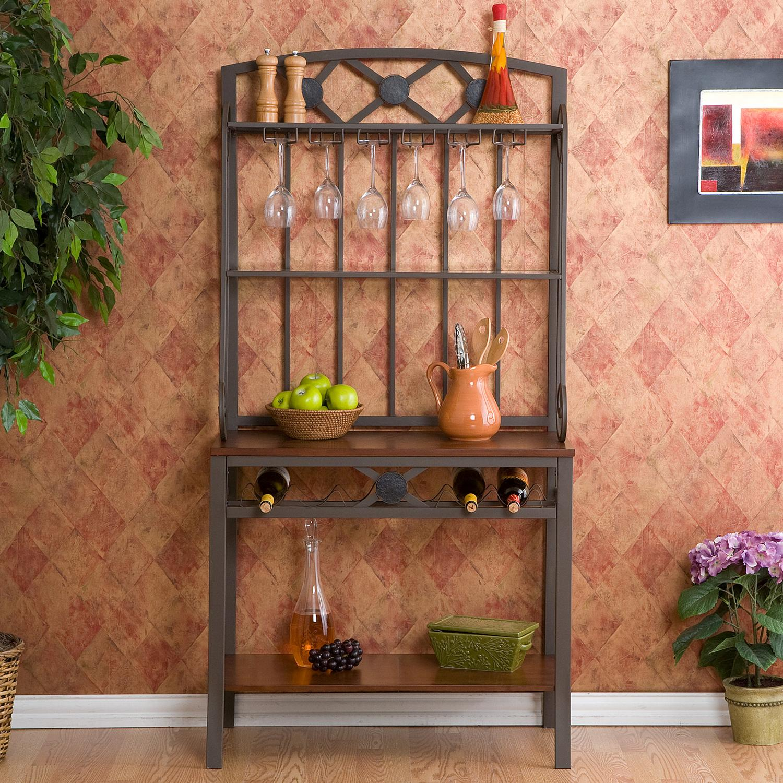 Kitchen Storage Racks Metal Amazoncom Decorative Bakers Rack With Wine Storage Kitchen Dining