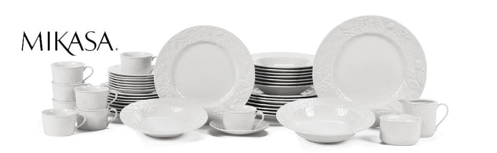 English countryside Mikasa china dinner plates serveware dinnerware  sc 1 st  Amazon.com & Amazon.com: Mikasa English Countryside 40-Piece Dinnerware Set ...