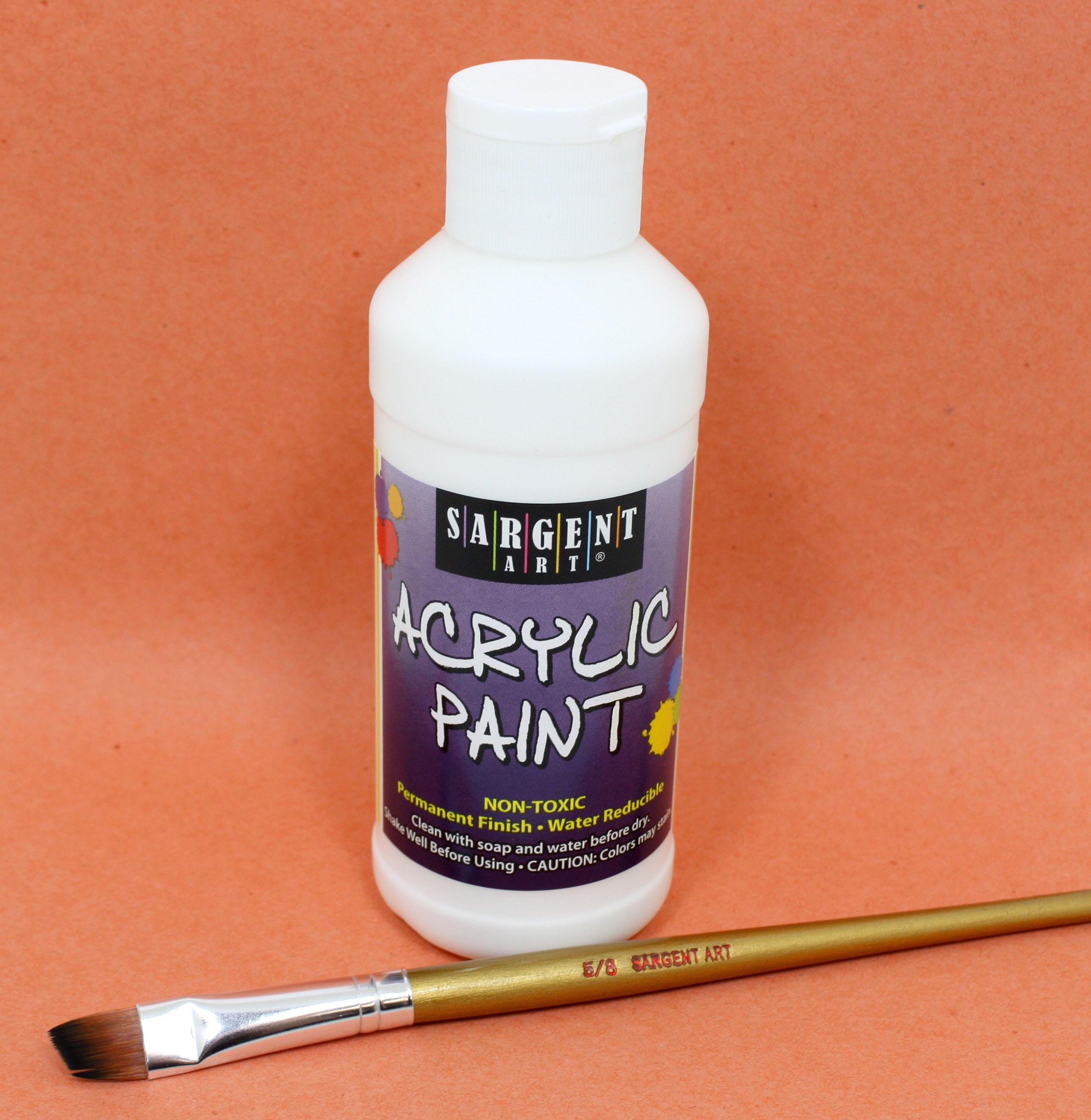 Sargent art 22 2396 8 ounce acrylic paint white for Acrylic paint water resistant
