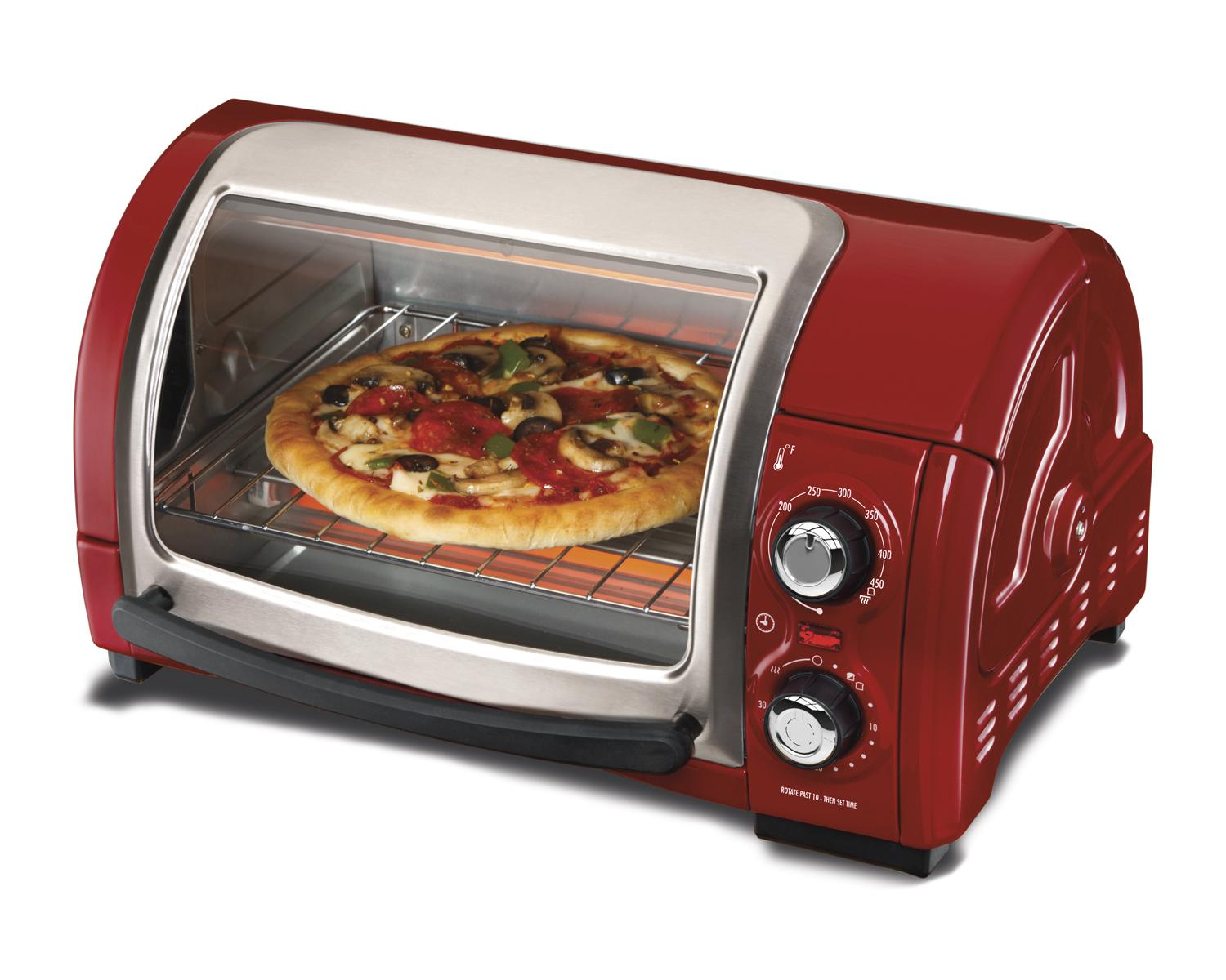 Amazon Com Hamilton Beach Easy Reach Toaster Oven Red