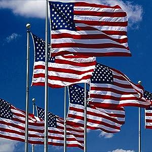 US flags flying on flagpole