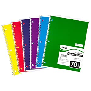 notebook, spiral notebook, mead, mead notebook, 1 subject