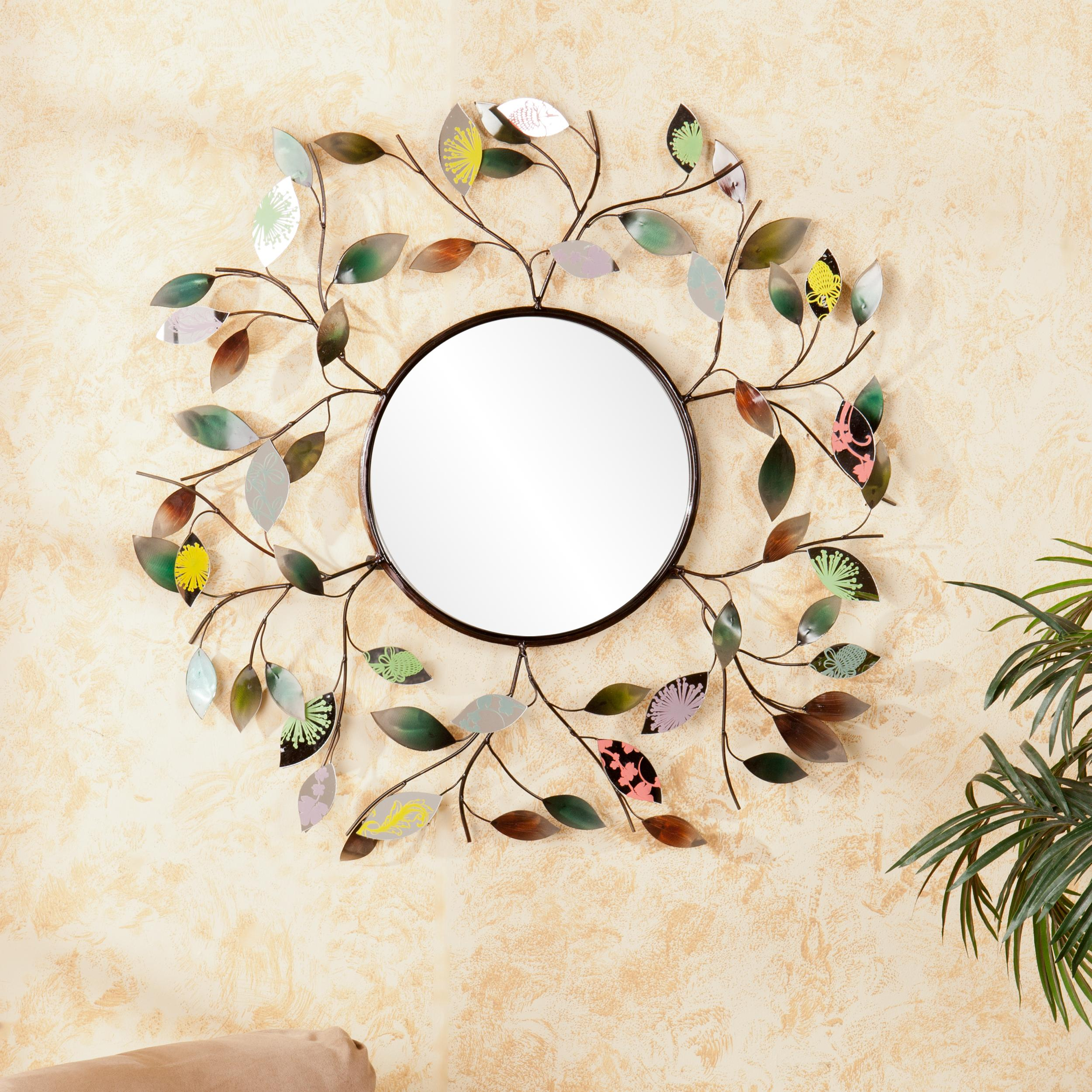 stickers circle diy mirror decor art on stick as decoration wall mirrors