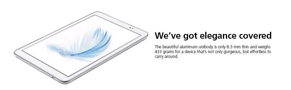 aluminum, unibody, 8.3mm, thin, 433g, light, portable, slim, powerful, big screen, long life, tablet