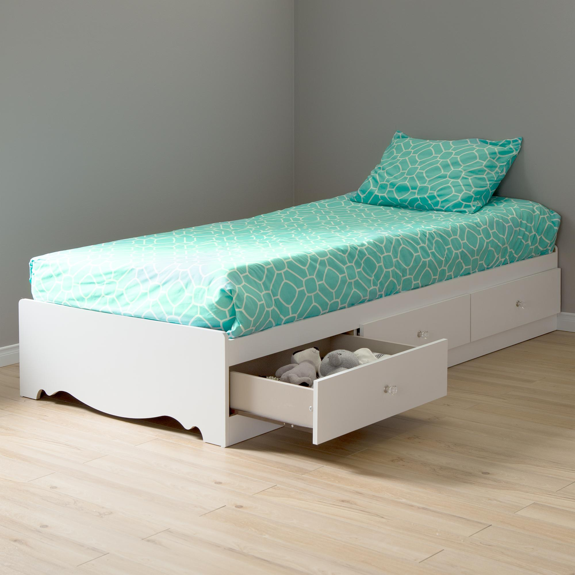 Amazon Com Crystal Collection Twin Storage Bed Pure White