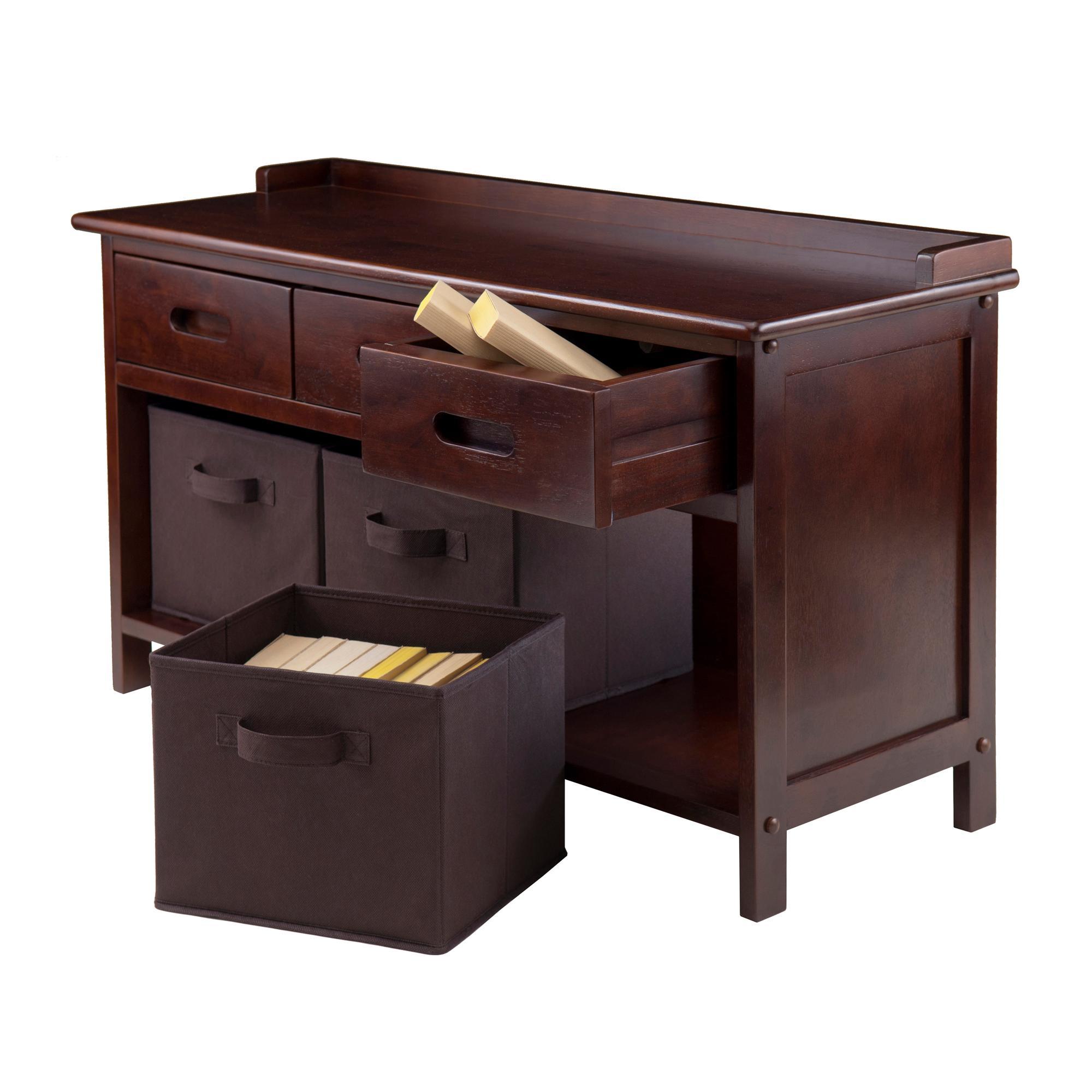 Amazon Winsome Wood Adriana 4 Piece Storage Bench Set with 3