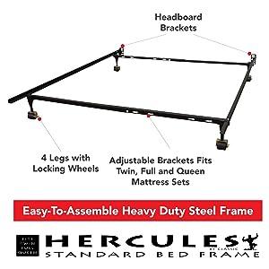hercules standard heavy duty adjustable metal bed frame