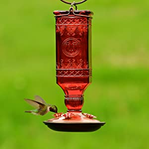 Perky-Pet 24 oz. Red Glass Antique Bottle Hummingbird Feeder