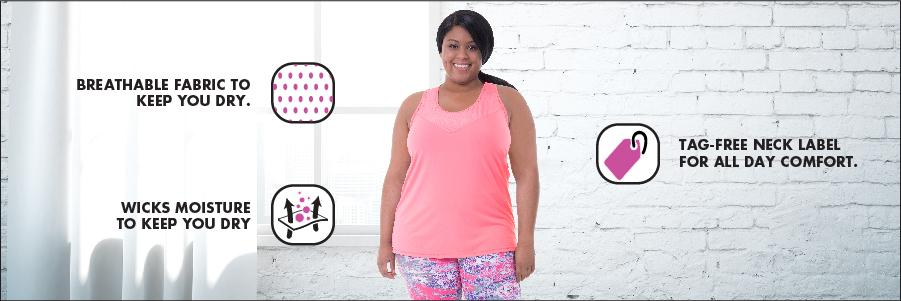 Fit for Me by Fruit of the Loom Womens Plus-Size Plus Size Breathable Textured Tank