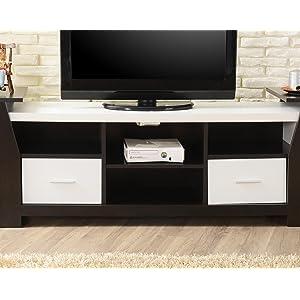 Enitial Lab Torena Multi-Storage TV Stand, Black & White - Open Shelves