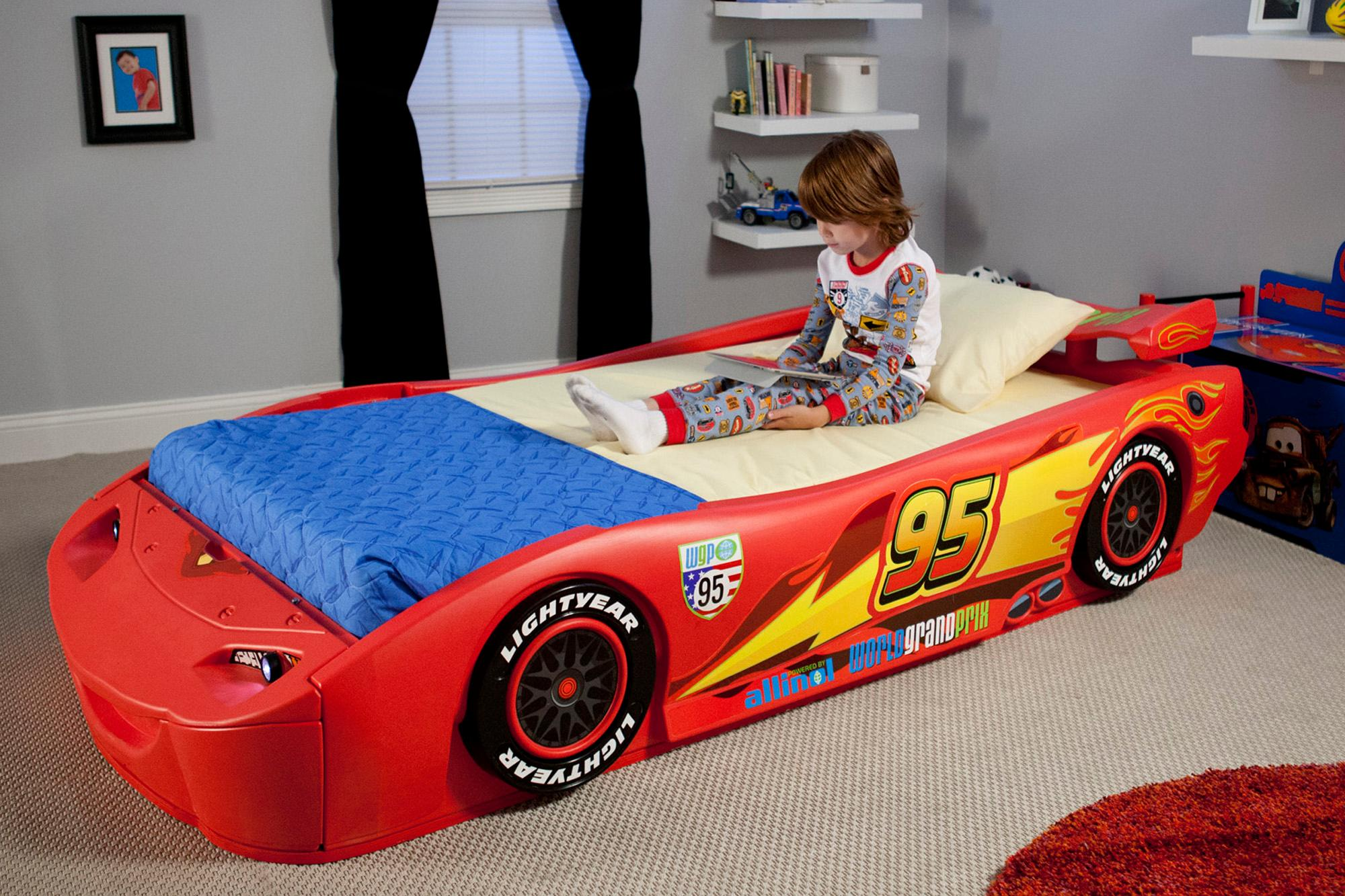 Car beds for boys twin -  Cars Lightning Mcqueen Twin Bed With Lights From Delta Children View Larger