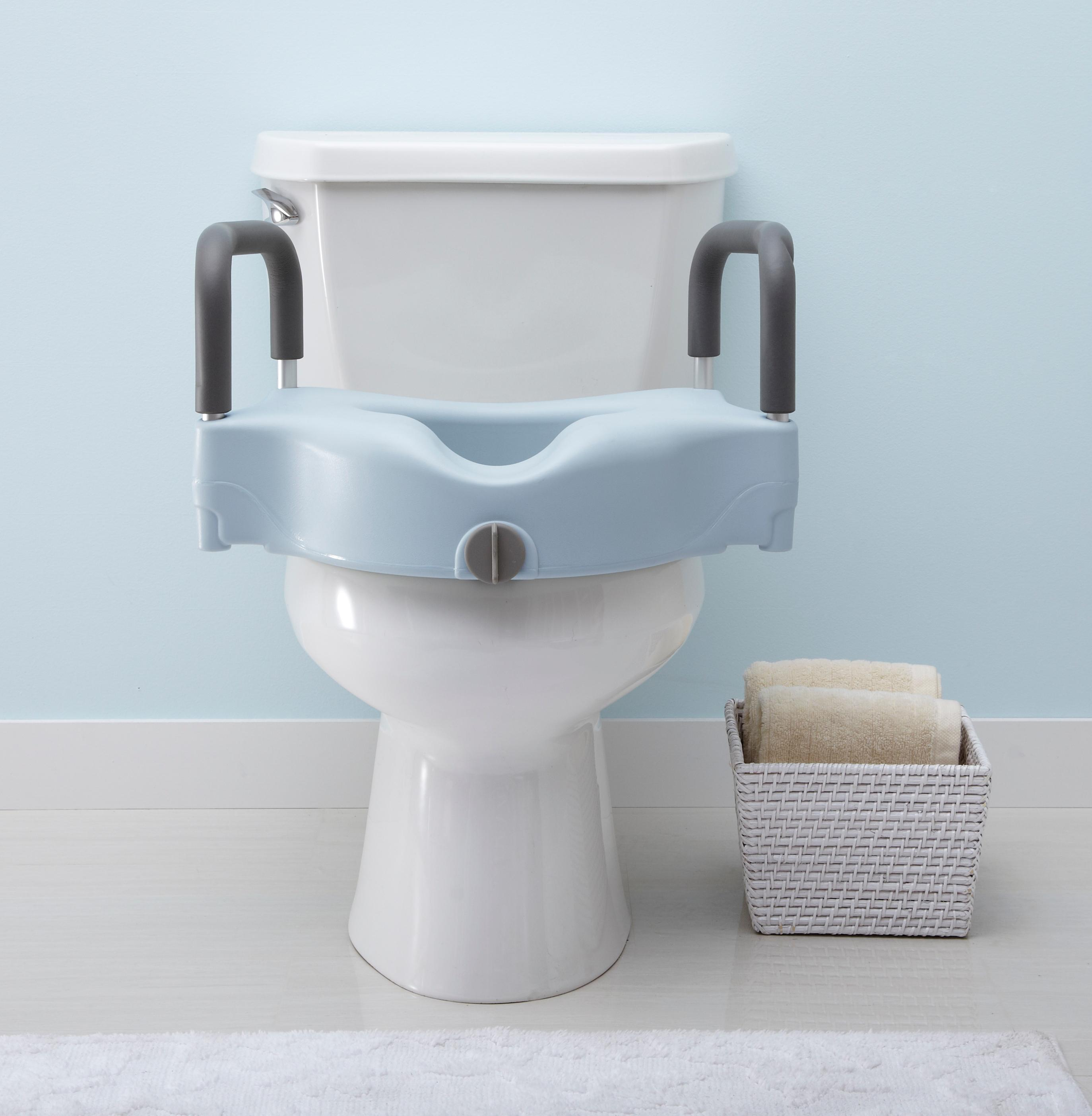 Amazon.com: Medline Locking Elevated Toilet Seat with Arms, Infused ...