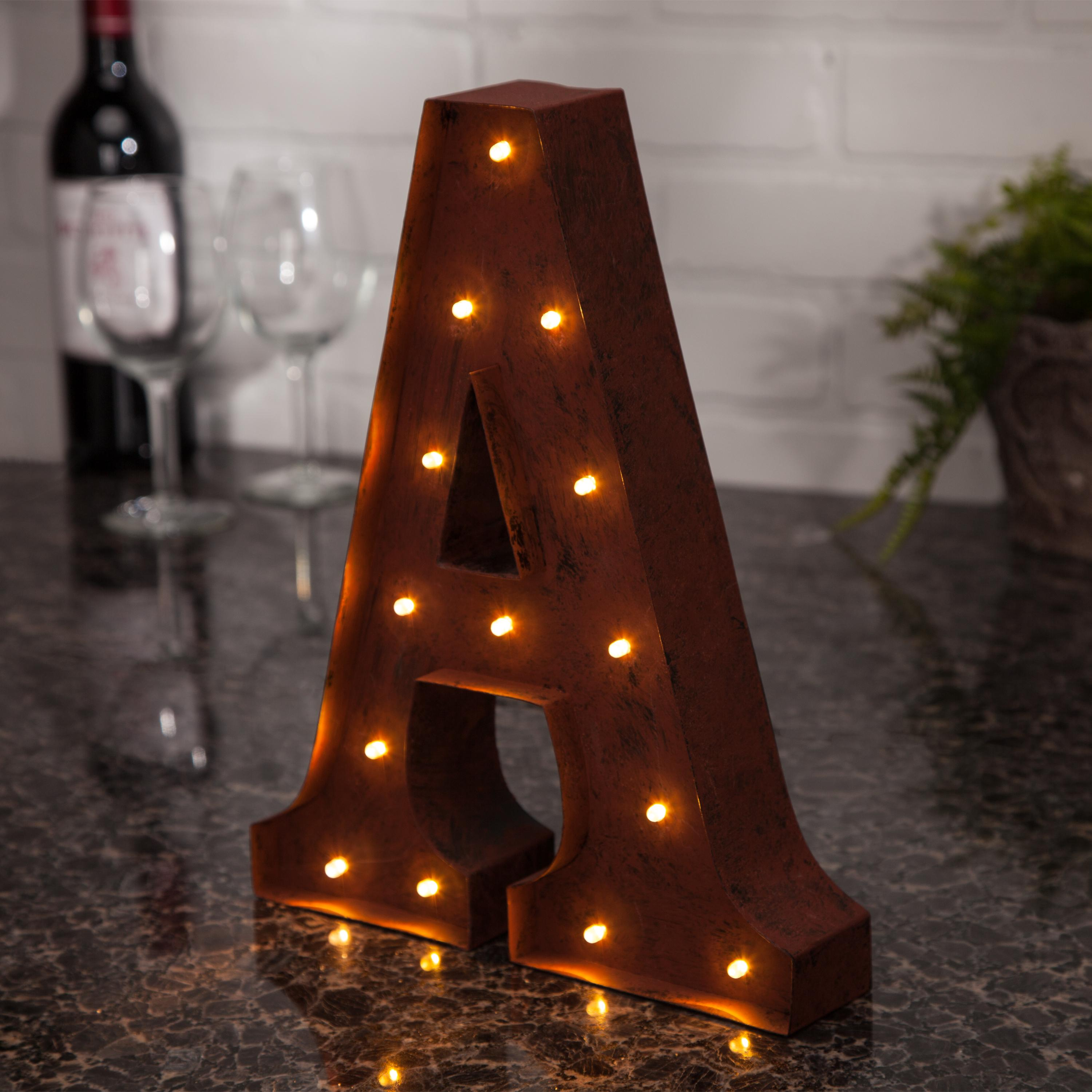 the gerson company lighted metal letter a with rustic finish and 14 warm white led lights