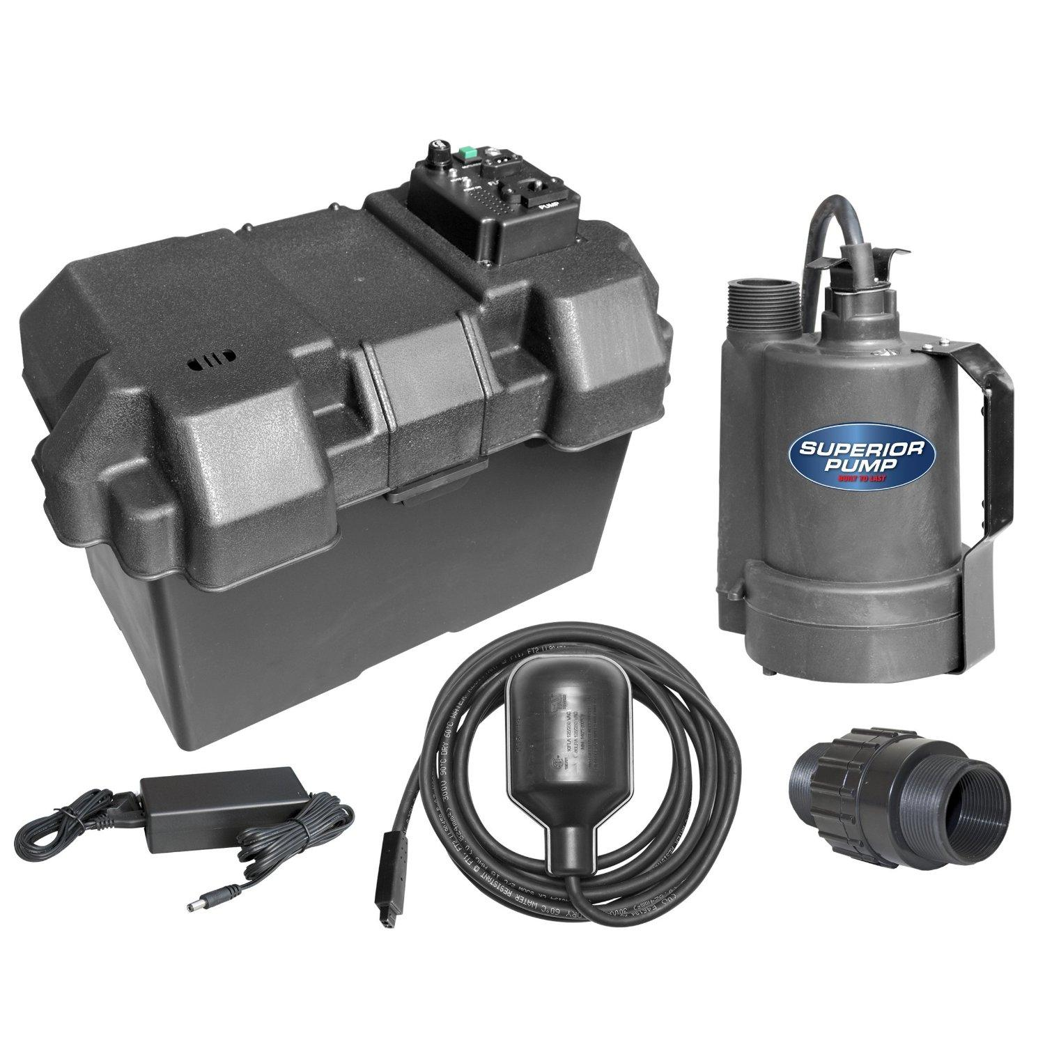 Superior Pump 92900 Powered Battery Back Up Sump Pump With ...