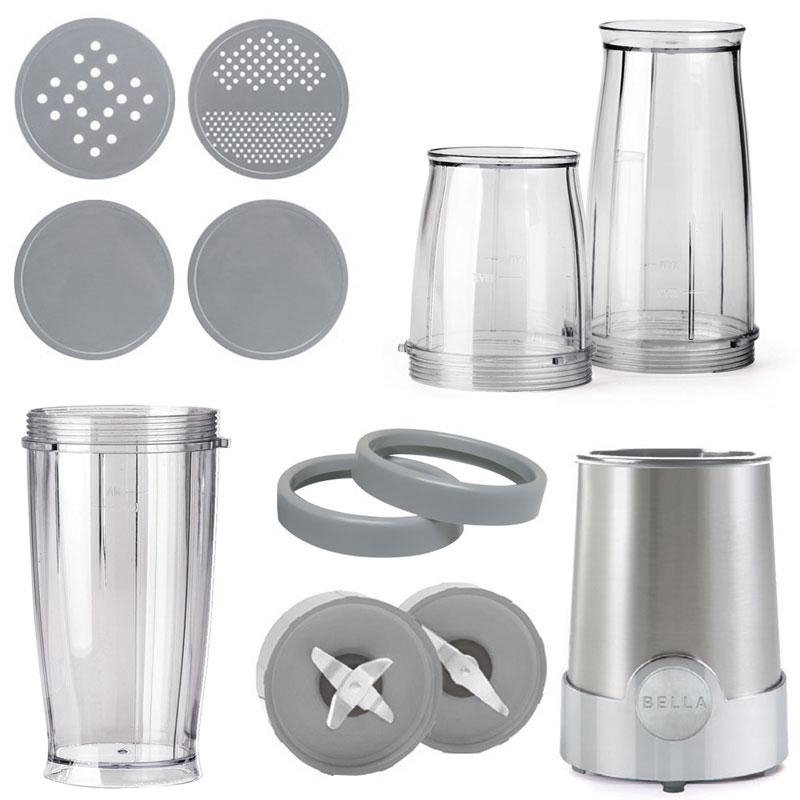 Bella Personal Size Rocket Blender Chopwhip 12 Piece Set Stainless