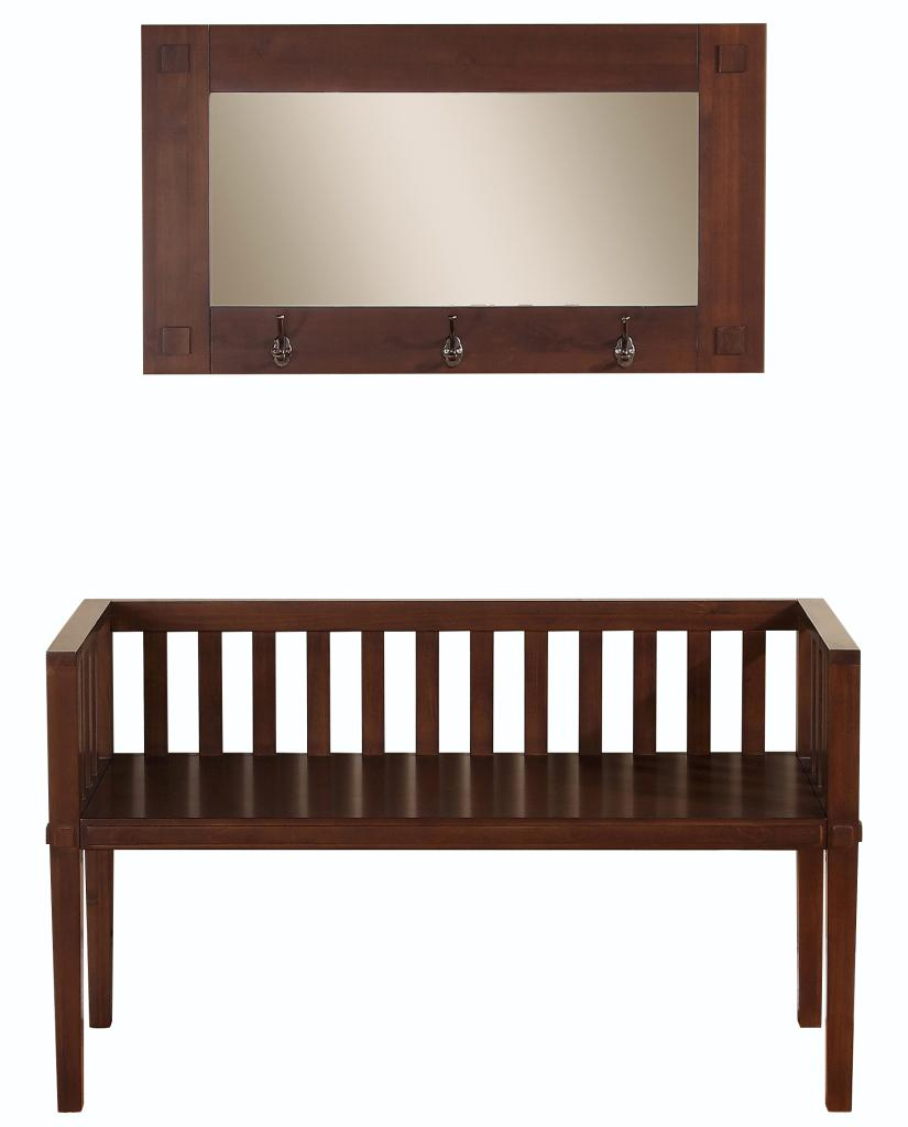 Simpli Home Greyson Entryway Bench With Mirror Dark Tobacco Brown Kitchen Dining