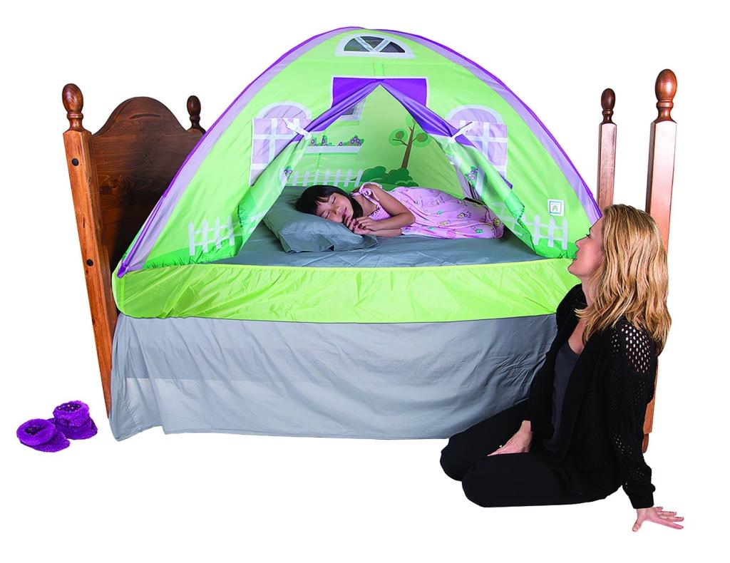 Pacific play tents cottage bed tent twin for Twin size toddler bed