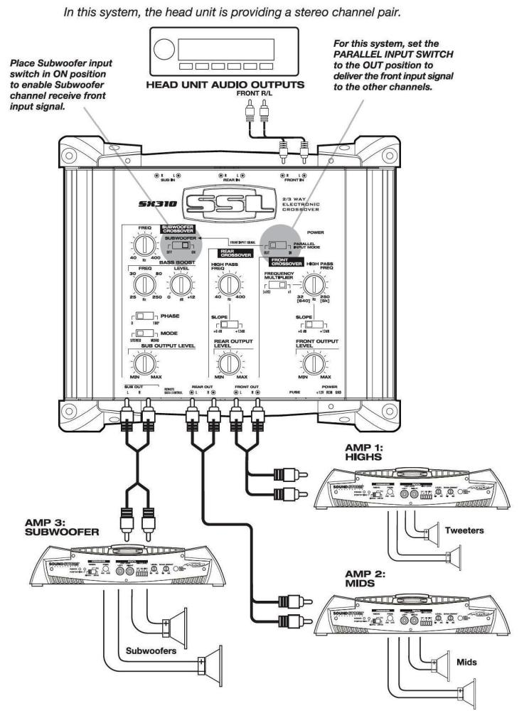 wiring diagram car audio crossover wiring image amazon com ssl sx310 2 3 way pre amp electronic crossover on wiring diagram car