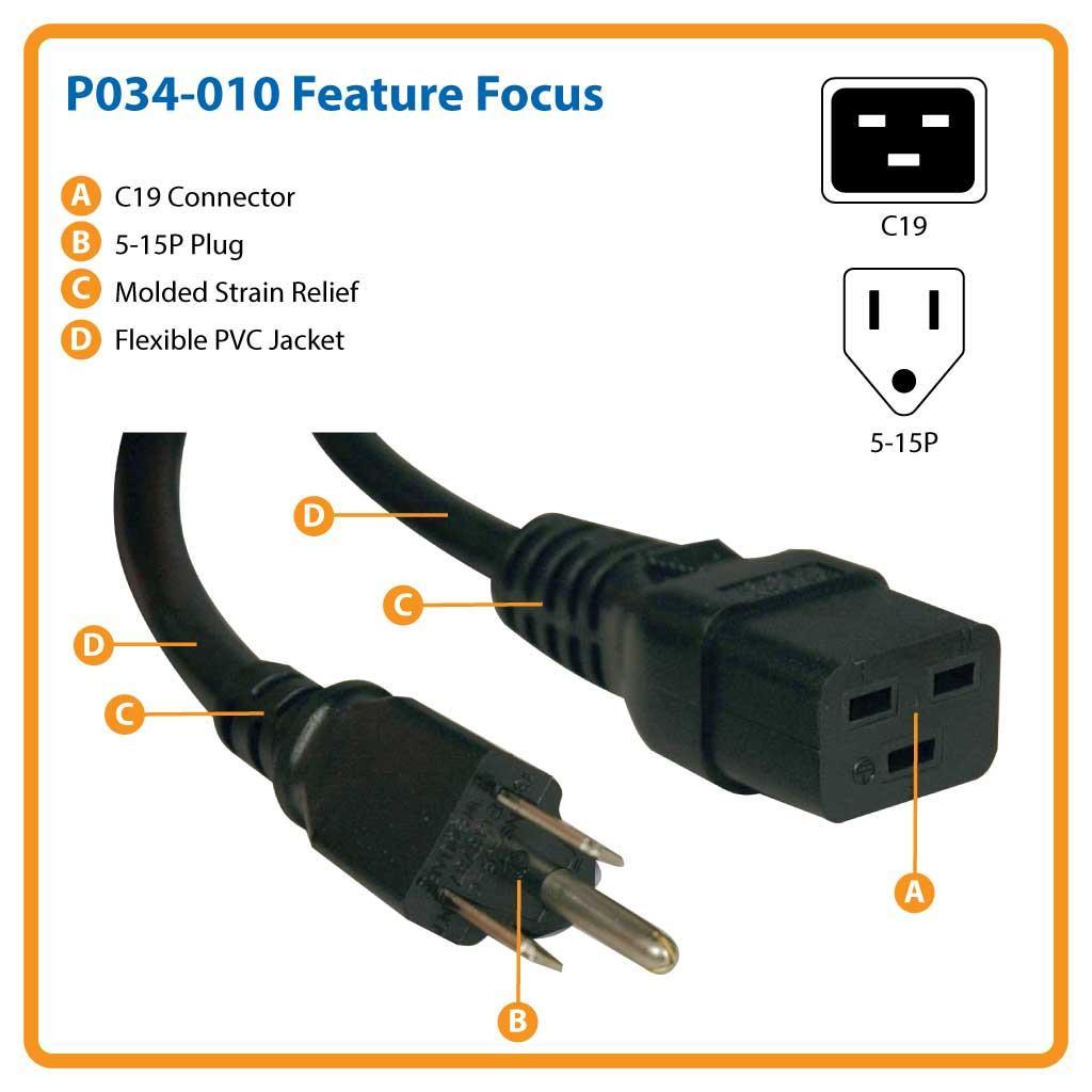 amazon com tripp lite heavy duty power cord 15a 14awg iec 320 rh amazon com