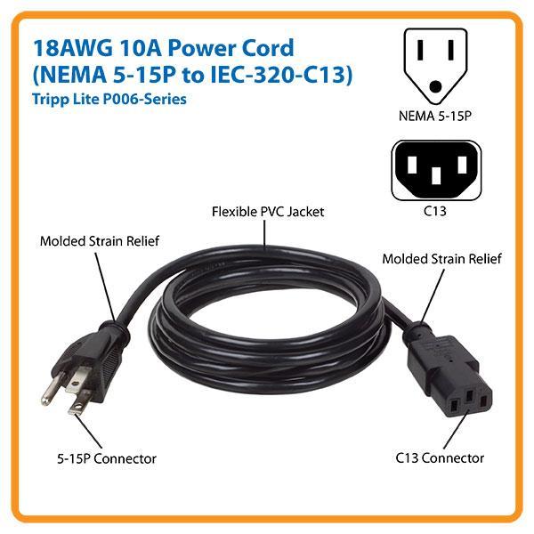 Amazon Com  Tripp Lite Standard Power Cord Y Splitter