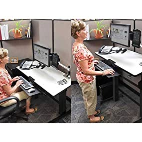 Amazoncom Ergotron WorkFitD SitStand Desk light grey