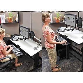 Amazon Com Ergotron Workfit D Sit Stand Desk Light Grey