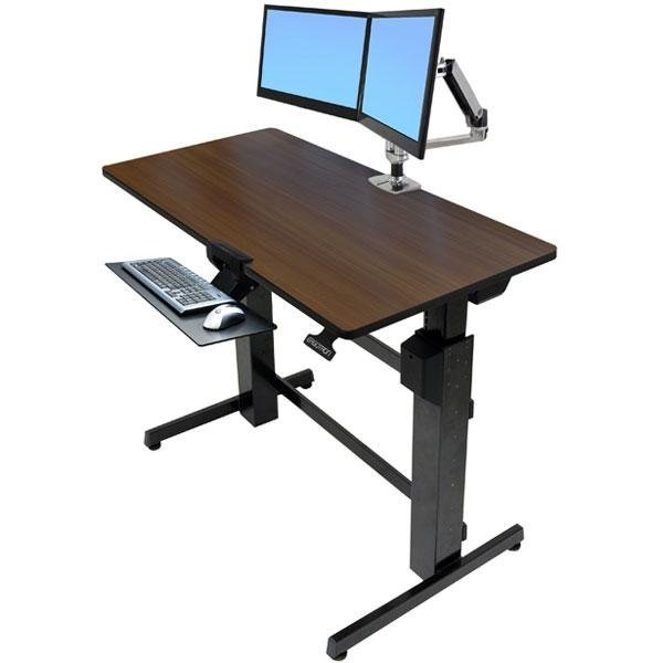 amazon com ergotron workfit d sit stand desk walnut computers rh amazon com