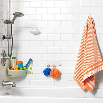 Address the Mess  Introducing Command Bath Products. Command Bathroom Hook with Water Resistant Strips  1 Hook  2 Strip