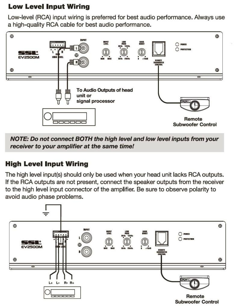 vendorimagesLegacyMigrate_61RHOIKK7HL._CB269829541_ amazon com ssl ev2500m evo series 2500 watt class a b monoblock 2 high level input wiring diagram at reclaimingppi.co