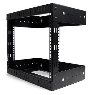 8U Open Frame Wall Mount Equipment Rack - Adjustable depth