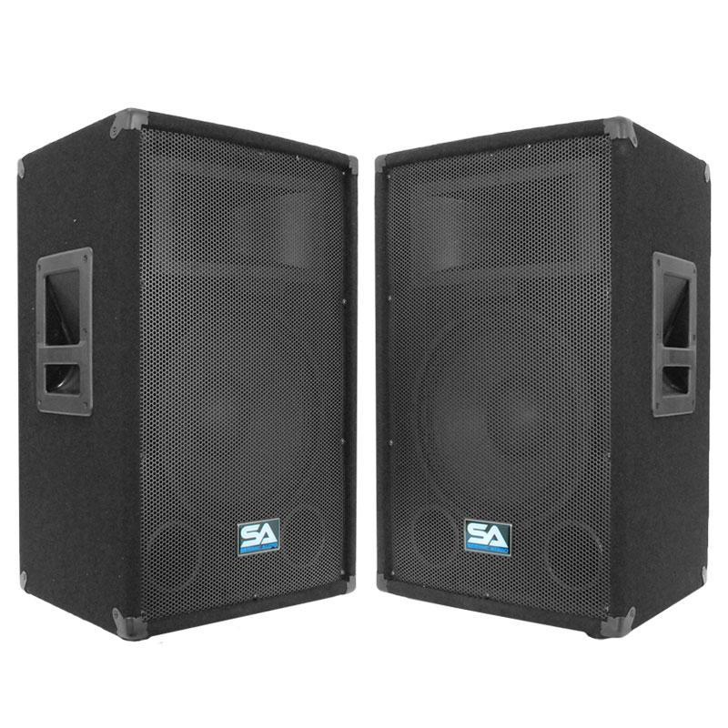 seismic audio pair of 12 pa dj speakers 600 watts pro audio mains monitors. Black Bedroom Furniture Sets. Home Design Ideas