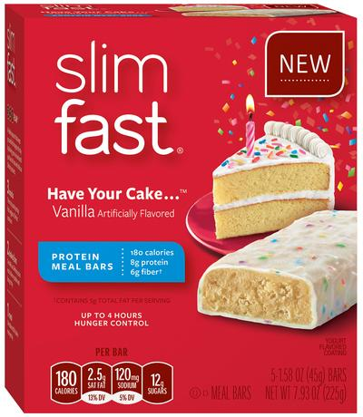 Slim Fast Diet >> Slimfast Meal Replacement Bars Have Your Cake Vanilla 45 Grams 5 Count