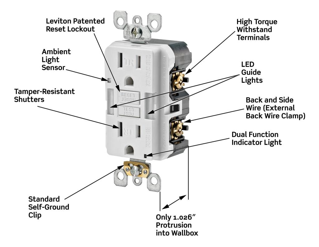 Leviton x7592 w 15 amp slim guide light gfci smartlockpro view larger sciox Image collections