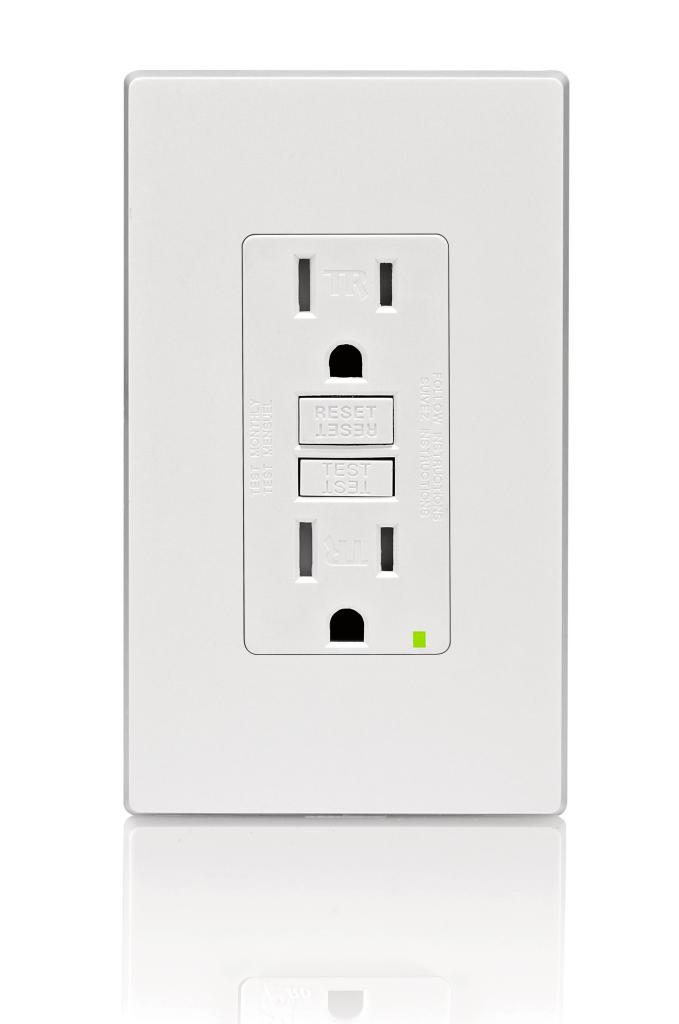 leviton x w smartlockpro slim gfci tamper resistant receptacle reduced depth makes for easier installation in any electrical box