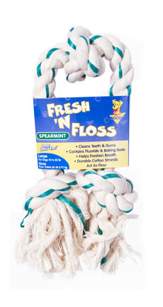 Booda Fresh N Floss 3 Knot Tug Rope Dog Toy, Large, Spearmint