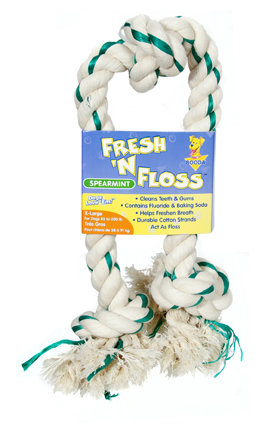 Booda Fresh N Floss 3 Knot Tug Rope Dog Toy, X Large, Spearmint