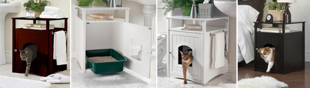 Merry Pet Cat Washroom / Night Stand Pet House Walnut: