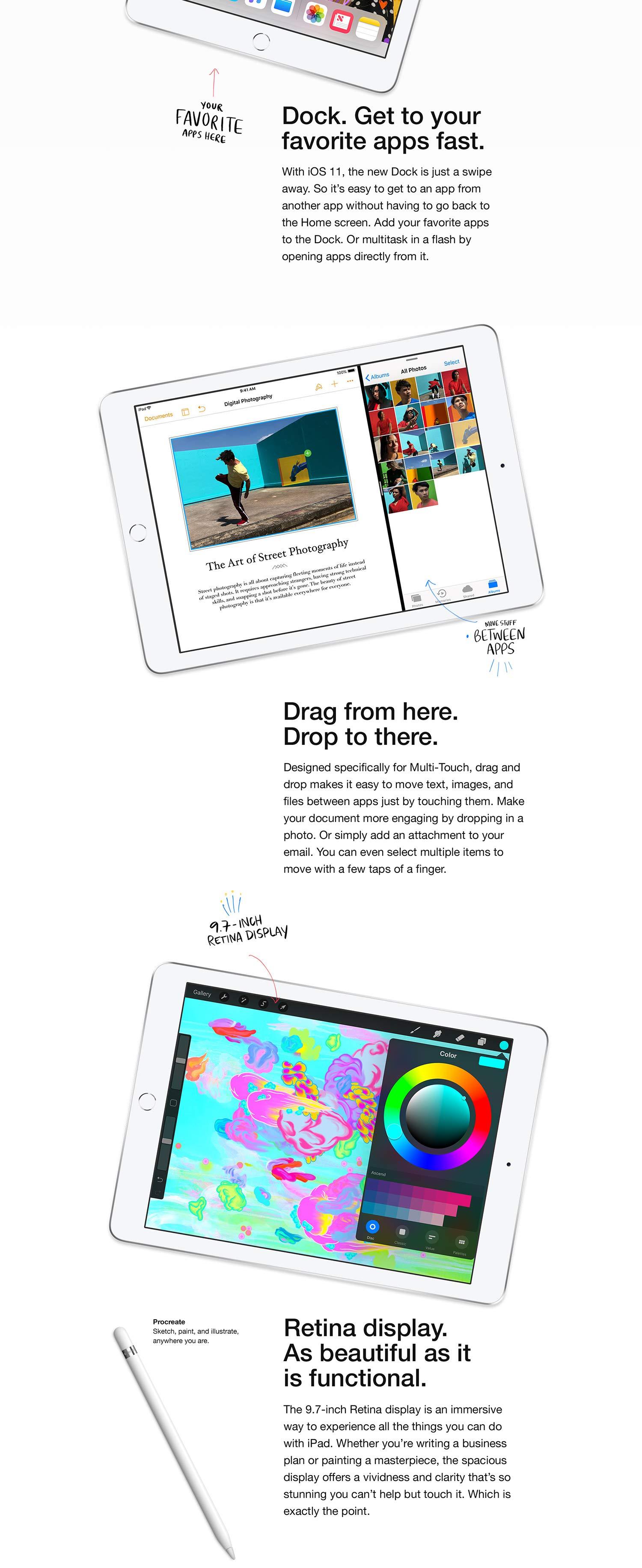 Amazon com : Apple iPad (Wi-Fi, 32GB) - Space Gray (Latest Model) :