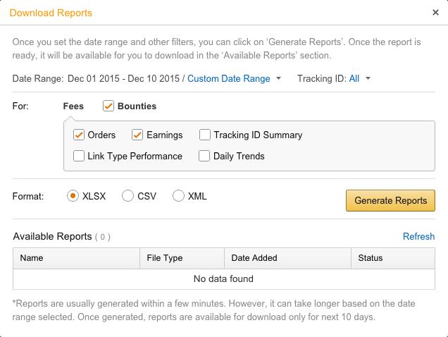 Amazon Associates Reporting