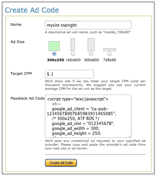 Create Amazon CPM Ads ad code