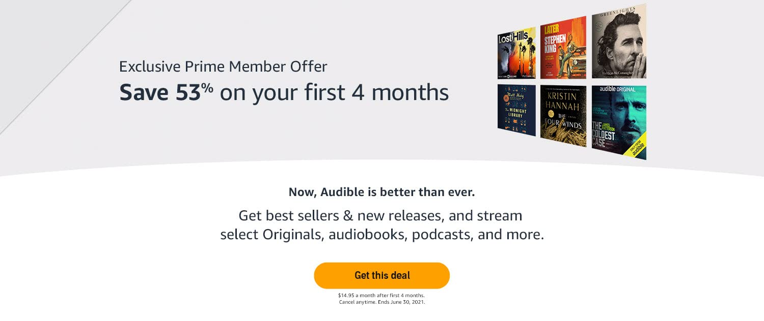 Save 54% on your first 4 months of Audible