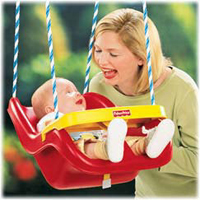The Infant To Toddler Swing Reclines Via Its Ropes For Use With Infants And Growing Children