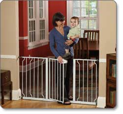 Baby Gate Extra Wide Opening Swing Door Walk Thru Safety