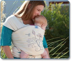 Moby Wrap UV SPF 50+ Designs Baby Carrier, Almond Blossom Lifestyle Shot